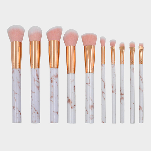 K10056 10 Piece Capped Marble Makeup Brush Set
