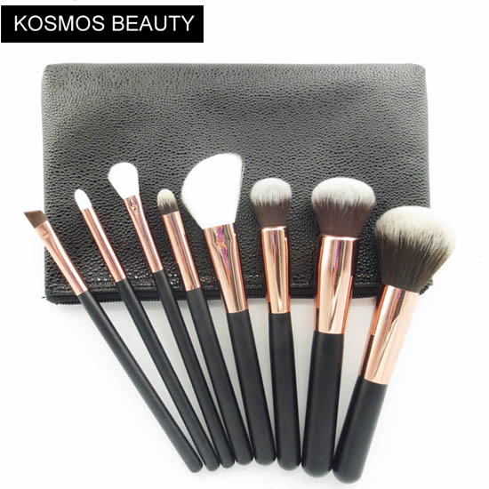 K10068 8 Piece Rose Gold Makeup Brush Set