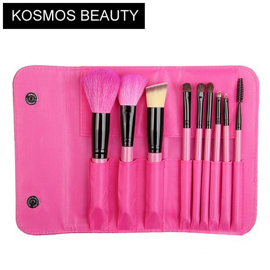 9 piece rosy makeup brush set